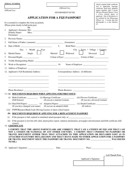 """Application Form for a Fiji Passport"" - Fiji Download Pdf"