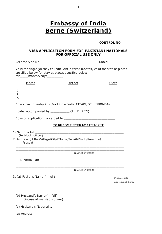"""Indian Visa Application Form for Pakistani Nationals - Embassy of India"" - Canton of Bern, Switzerland Download Pdf"