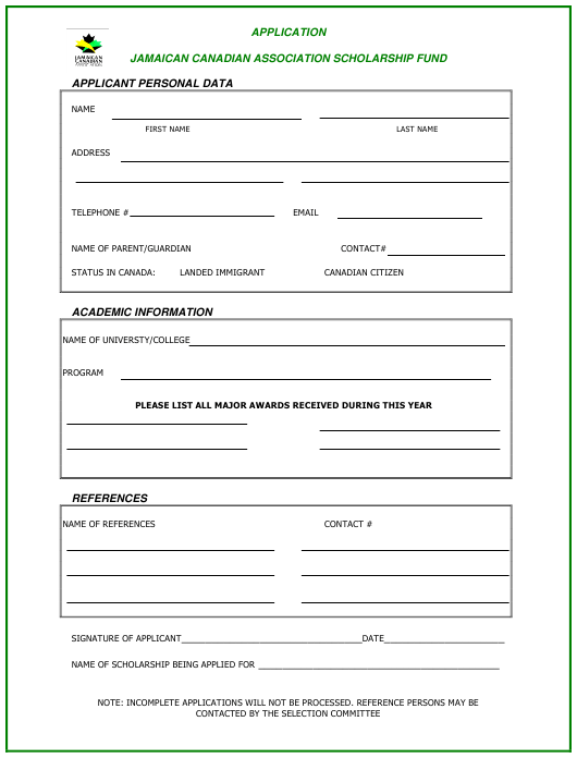 """Application Form for Scholarship - Jamaican Canadian Association"" - Canada Download Pdf"
