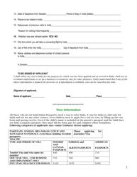 """""""Indian Visa Application Form - Embassy of India"""" - Stockholm, Sweden, Page 2"""