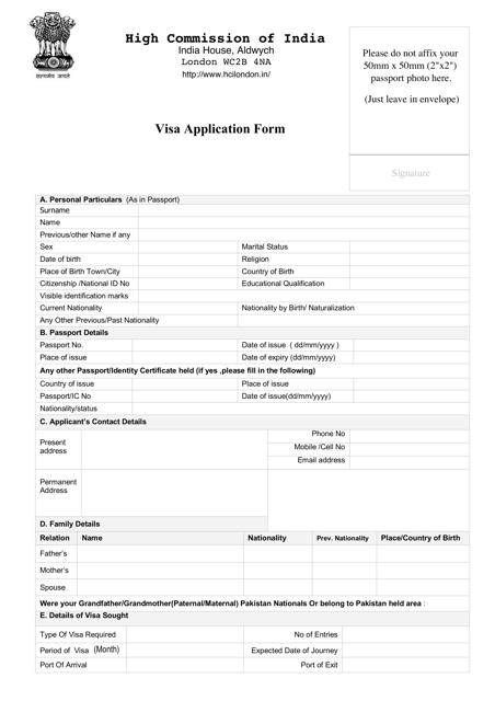 Online Indian Visa Application Form For Desh Pdf on