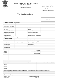 """Indian Visa Application Form - High Commission of India, London, Uk"" - United Kingdom"