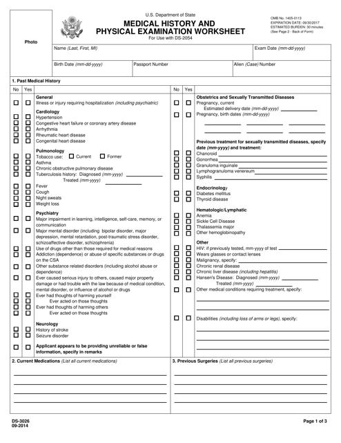 Form DS-3026  Printable Pdf