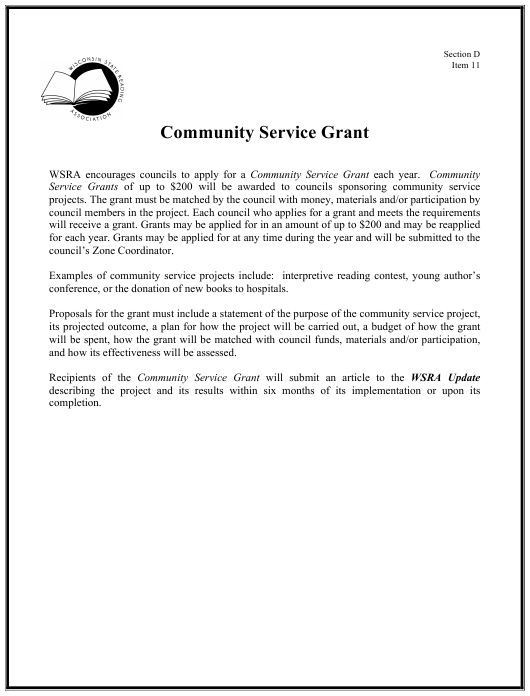 """Community Service Grant Proposal Template - Wisconsin State Reading Association"" - Wisconsin Download Pdf"