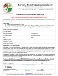 Temporary Food Service Permit Application Form - Caroline county, Maryland