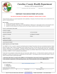 """Temporary Food Service Permit Application Form"" - Caroline county, Maryland"