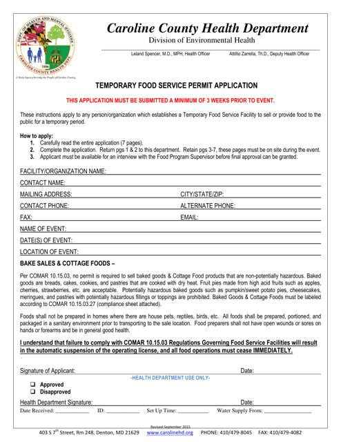 """Temporary Food Service Permit Application Form"" - Caroline county, Maryland Download Pdf"