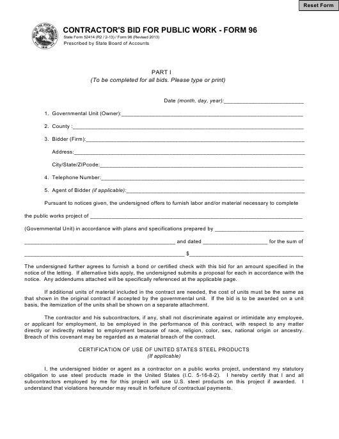 State Form 96  Printable Pdf