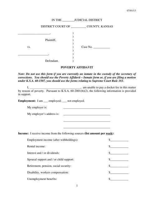 """Poverty Affidavit Form"" - Kansas Download Pdf"