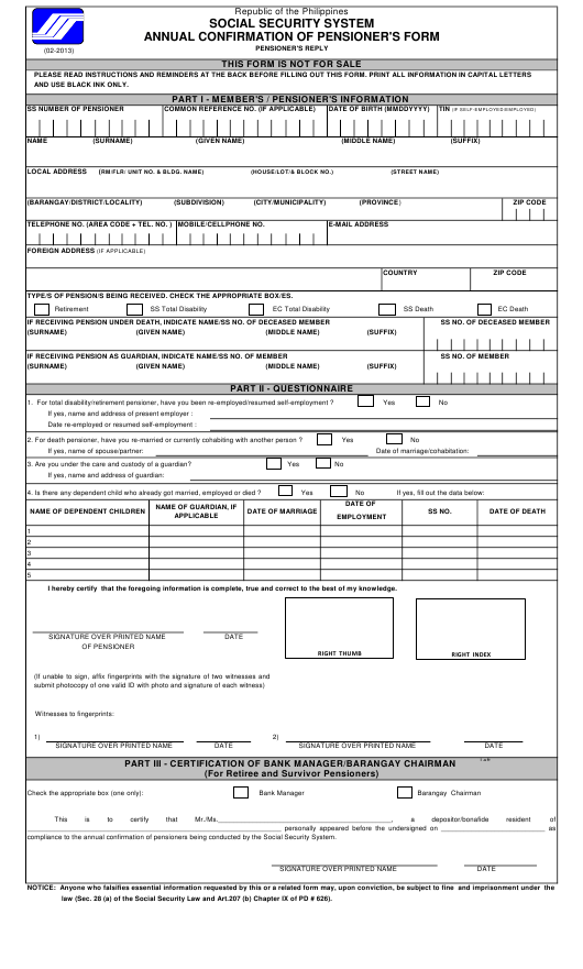 """""""Annual Confirmation of Pensioner's Form"""" - Philippines Download Pdf"""