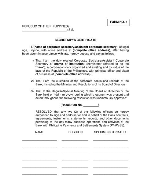 """Secretary's Certificate Form"" - Philippines Download Pdf"