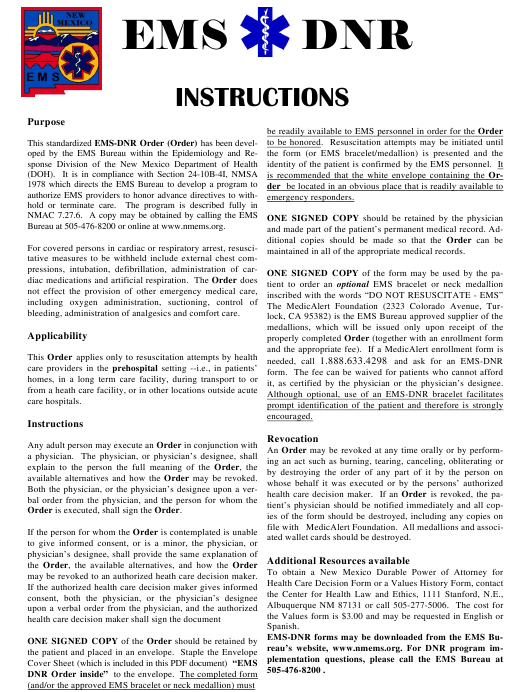 """""""Emergency Medical Services Do Not Resuscitate (DNR) Form"""" - New Mexico Download Pdf"""
