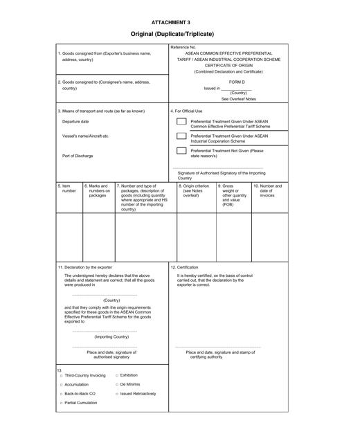 Form D Attachment 3 Printable Pdf