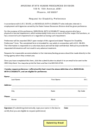 Request for Disability Preference Form - Arizona
