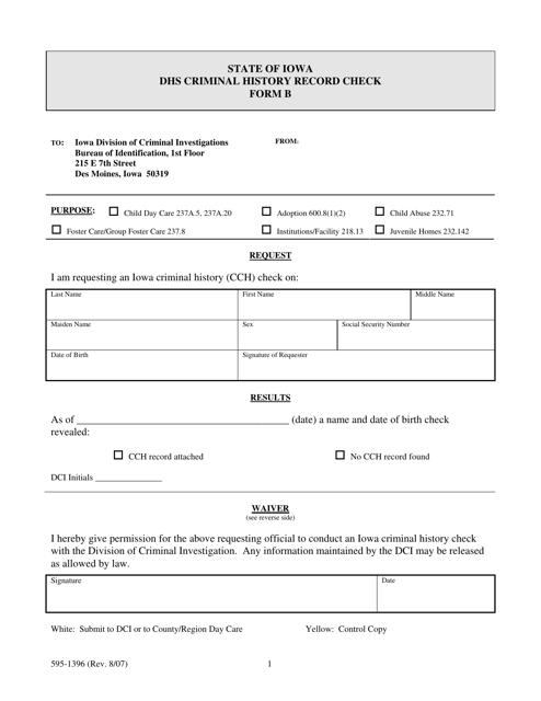 Form 595-1396  Printable Pdf