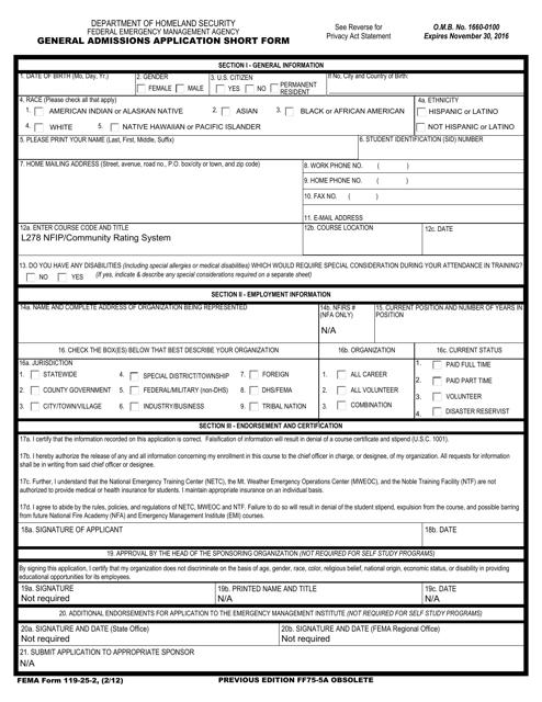 FEMA Form 119-25-2  Printable Pdf