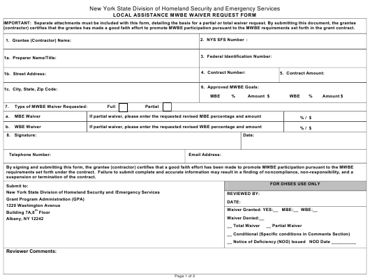 """""""Local Assistance Mwbe Waiver Request Form"""" - New York Download Pdf"""