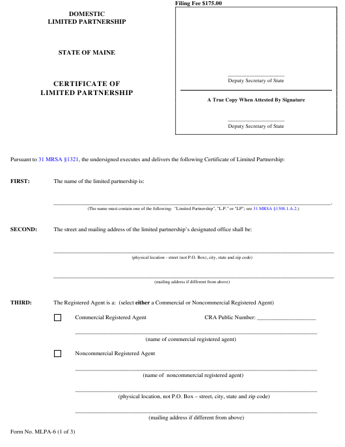 Form MLPA-6  Printable Pdf