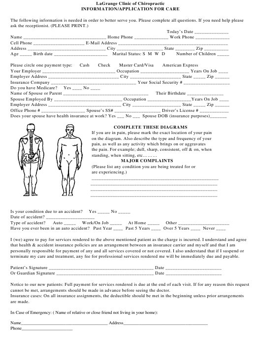 """Patient Intake Form - Lagrange Clinic of Chiropractic"" Download Pdf"