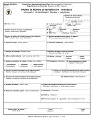 """Formulario SC4809.1 """"Informe De Numero De Identificacion - Individuos"""" - Puerto Rico (Spanish)"""