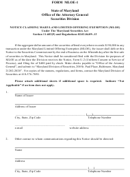 "Form MLOE-1 ""Notice Claiming Maryland Limited Offering Exemption (Mloe)"" - Maryland"