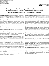 """Form Cert-121 """"Exemption for Landscaping and Horticulture Services, Window Cleaning Services, and Maintenance Services Provided to Recipients of Total Disability Benefits"""" - Connecticut"""