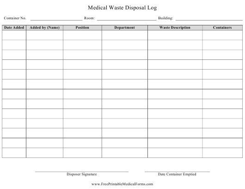 """Medical Waste Disposal Log Template"" Download Pdf"