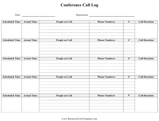 """""""Conference Call Log Template"""" Download Pdf"""