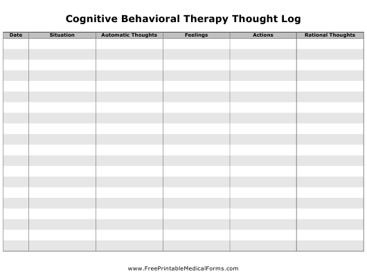 """""""Cognitive Behavioral Therapy Thought Log Template"""" Download Pdf"""