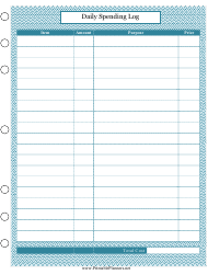 """Daily Spending Log Template"""