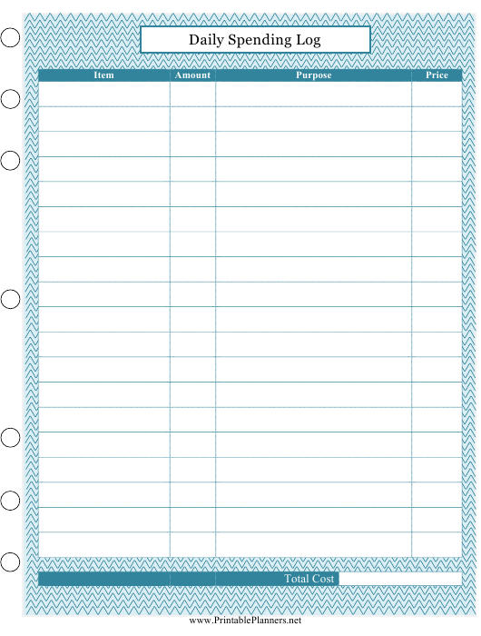 """""""Daily Spending Log Template"""" Download Pdf"""