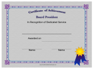 """Board President Certificate of Achievement Template"""