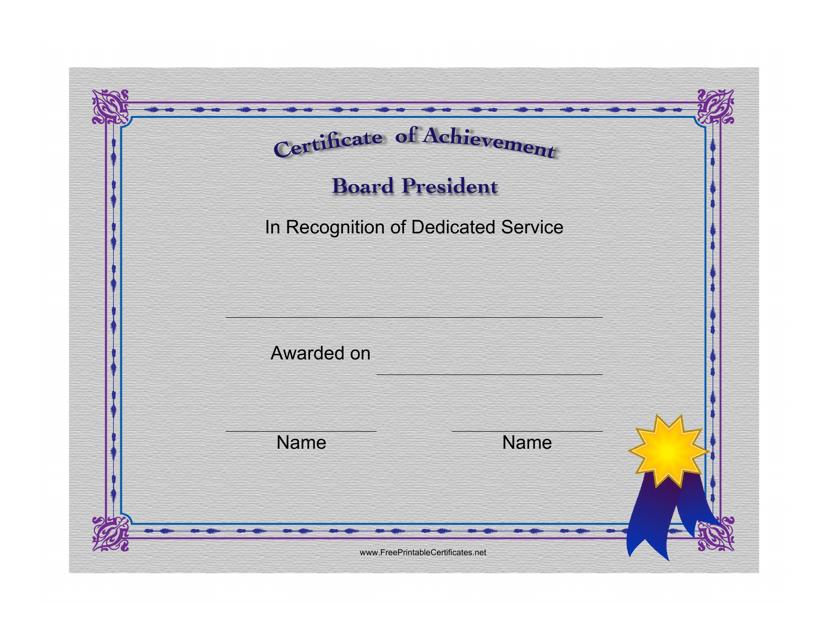 """Board President Certificate of Achievement Template"" Download Pdf"