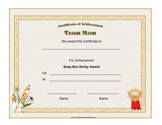 """Soap Box Derby - Team Mom Award Certificate Template"""