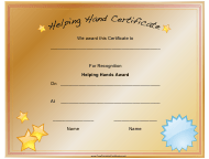 """Helping Hands Award Certificate Template"""