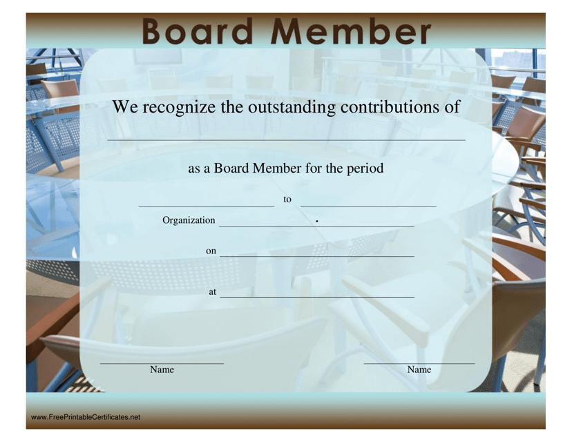 """Board Member Certificate Template"" Download Pdf"