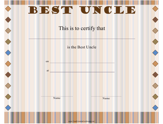 """""""Best Uncle Certificate Template"""" Download Pdf"""
