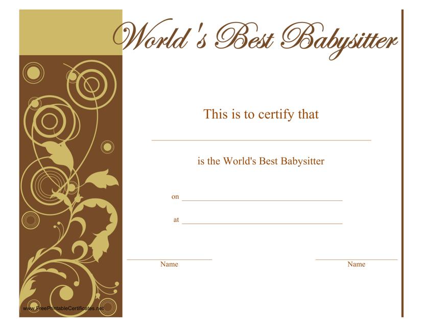 Worlds Best Babysitter Certificate Template Download Pdf