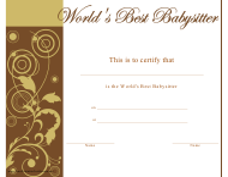 """World's Best Babysitter Certificate Template"""