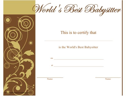 """World's Best Babysitter Certificate Template"" Download Pdf"