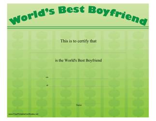 """World's Best Boyfriend Certificate Template"""