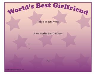 """World's Best Girlfriend Certificate Template"""