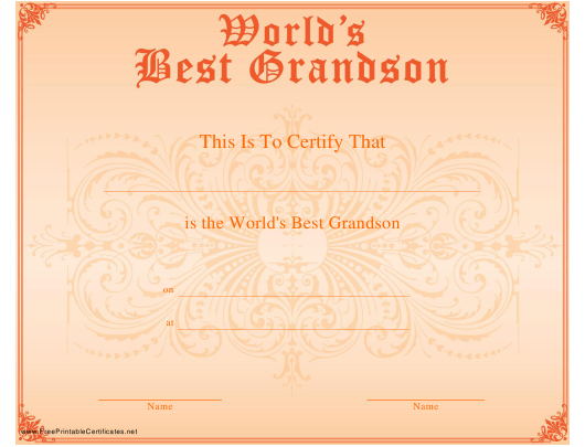 """World's Best Grandson Certificate Template"" Download Pdf"
