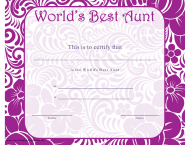 """World's Best Aunt Certificate Template"""