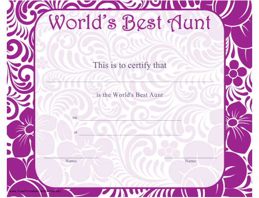 """""""World's Best Aunt Certificate Template"""" Download Pdf"""