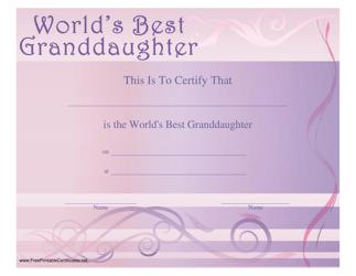 World's Best Granddaughter Certificate Template