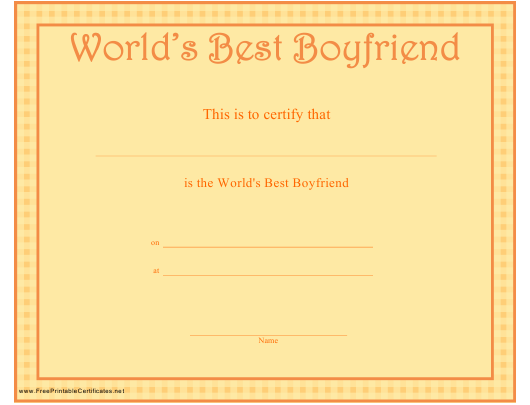 """World's Best Boyfriend Certificate Template"" Download Pdf"