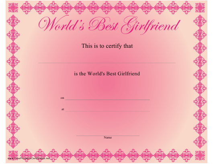 """World's Best Girlfriend Certificate Template"" Download Pdf"
