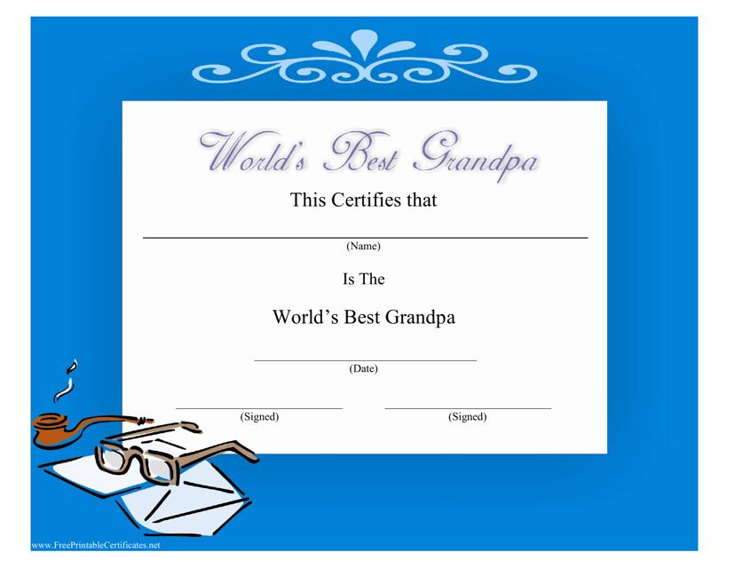 """World's Best Grandpa Certificate Template"" Download Pdf"
