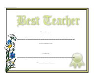 """Best Teacher Certificate Template"""